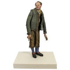 Deco Antique Lucite Encased European Paper Mâché Character Doll Table Sculpture