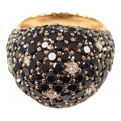 Art Deco Black Diamond Dome Cocktail Ring in Rose Gold