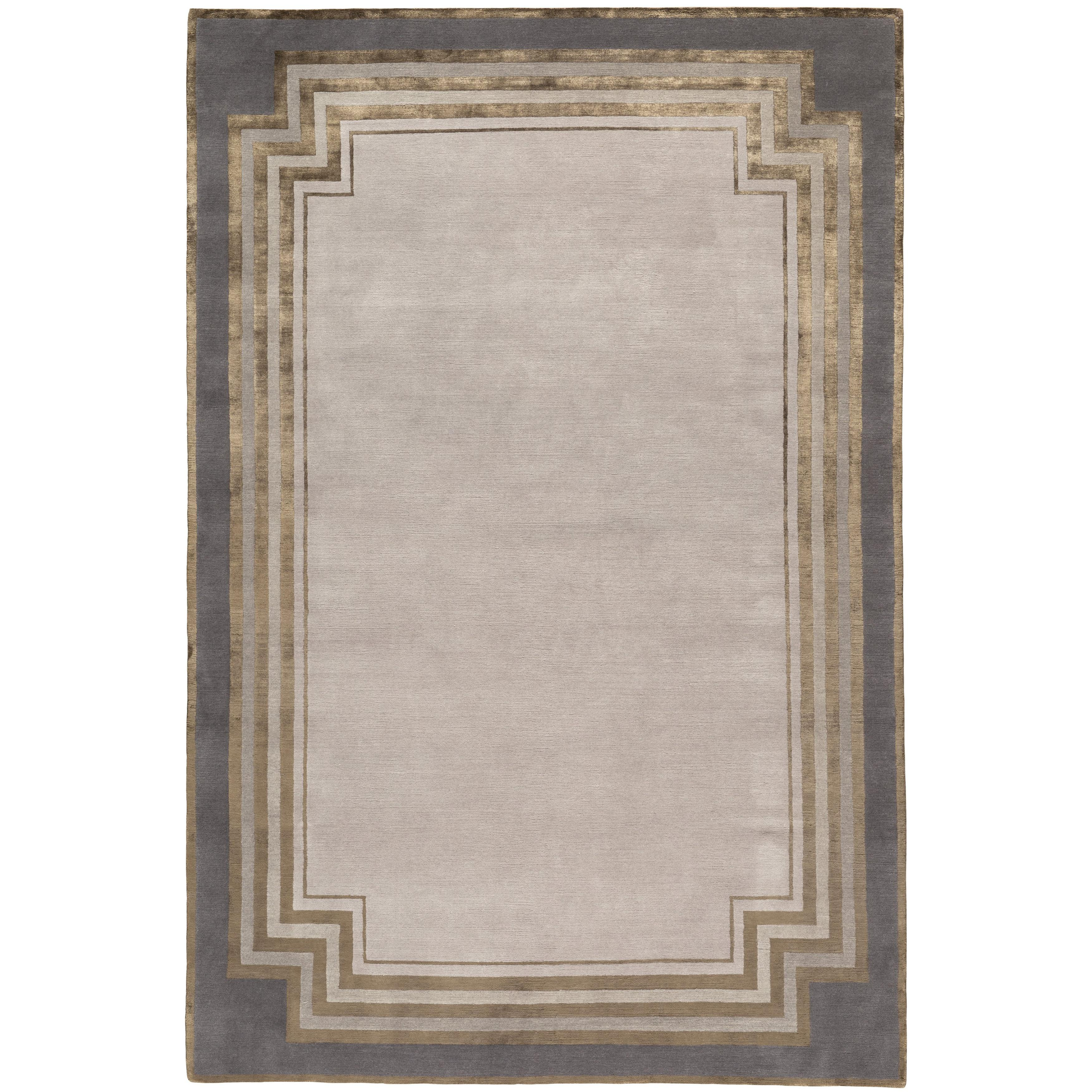 Deco Border Hand-Knotted 10x8 Rug in Wool and Silk by Tim Gosling