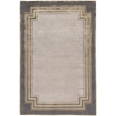 Deco Border Hand-Knotted 6x4 Area Rug in Wool and Silk by Tim Gosling