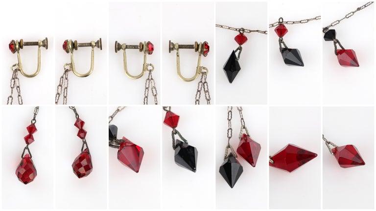 Deco c.1920s OOAK Sterling Ruby Red Onyx Necklace Drop Earring Set + Portrait For Sale 8