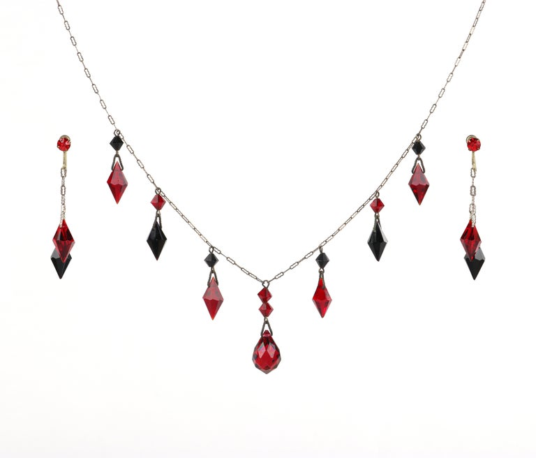 """ART DECO c.1920s OOAK Ruby Red Onyx Pendant Necklace Drop Earring Set w/Portrait   Circa: 1920s  Markings: """"Sterling"""" hallmark Style: Pendant necklace; drop earrings Color(s): Silver (metal); red, black (stones) Marked Material: """"Sterling"""""""