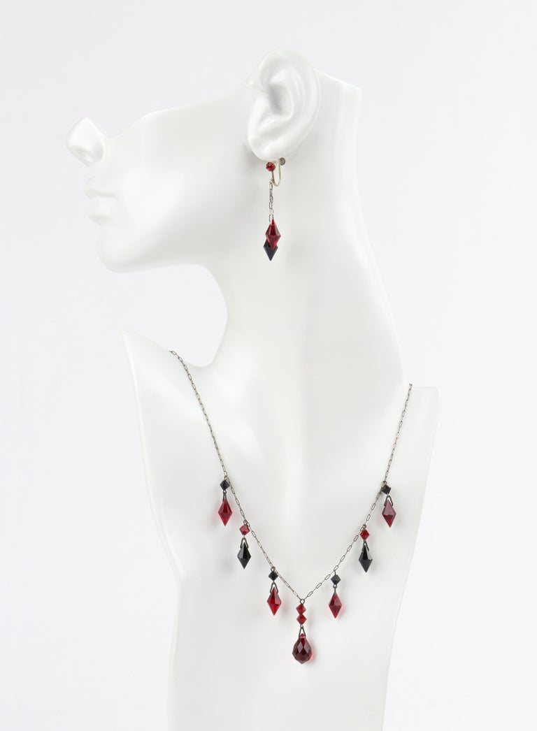 Deco c.1920s OOAK Sterling Ruby Red Onyx Necklace Drop Earring Set + Portrait In Good Condition For Sale In Thiensville, WI