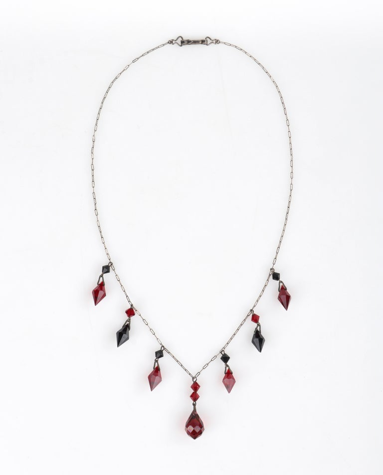 Deco c.1920s OOAK Sterling Ruby Red Onyx Necklace Drop Earring Set + Portrait For Sale 1