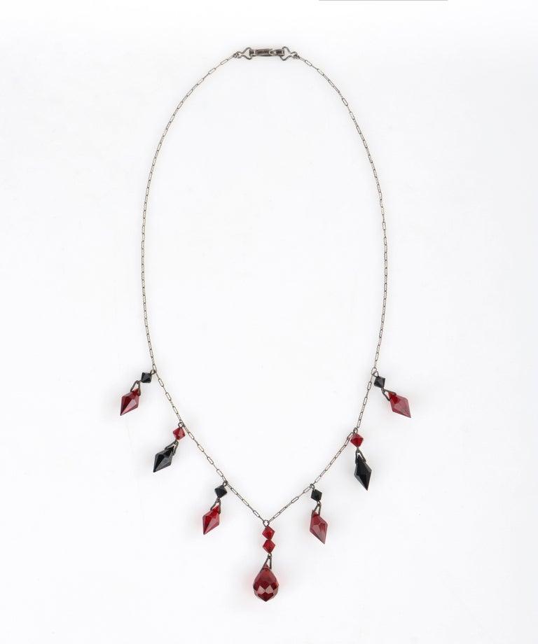 Deco c.1920s OOAK Sterling Ruby Red Onyx Necklace Drop Earring Set + Portrait For Sale 2