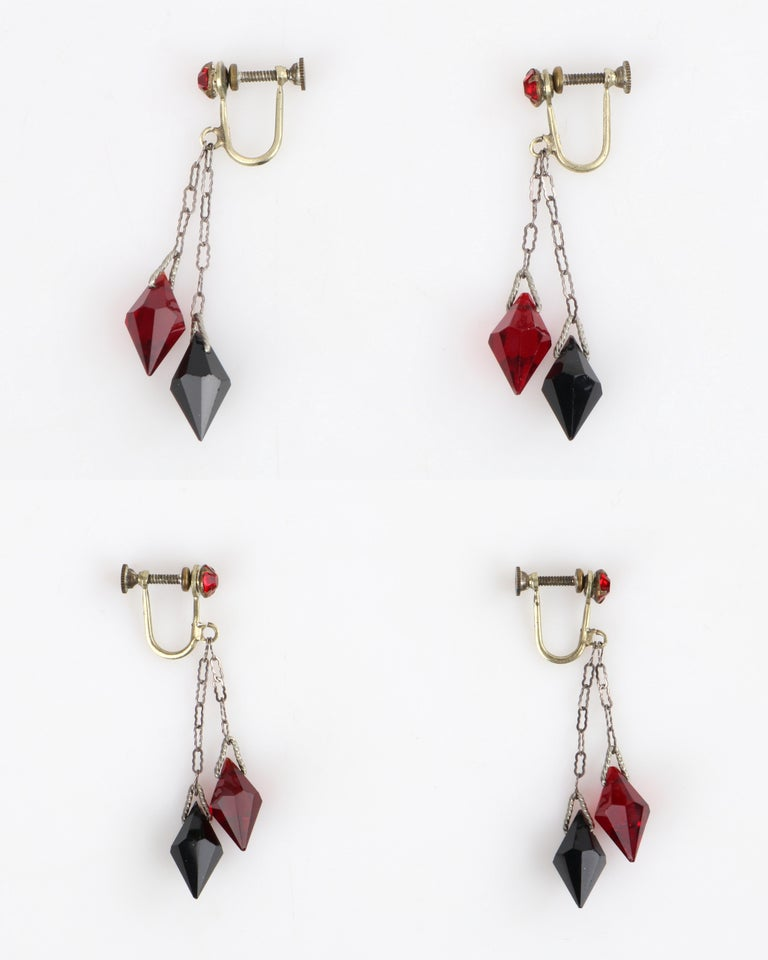 Deco c.1920s OOAK Sterling Ruby Red Onyx Necklace Drop Earring Set + Portrait For Sale 3