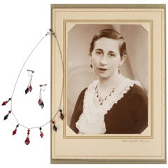 Deco c.1920s OOAK Sterling Ruby Red Onyx Necklace Drop Earring Set + Portrait