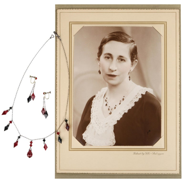 Deco c.1920s OOAK Sterling Ruby Red Onyx Necklace Drop Earring Set + Portrait For Sale
