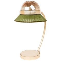 Deco' Contemporary Table Lamp Silvered Crystal, Pine Silk Organdy, Brass Body