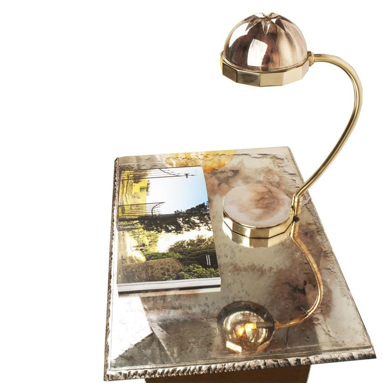 Deco Contemporary Table Lamp Silvered Glass, Silver Crystal Cup, Cast Brass Body 5