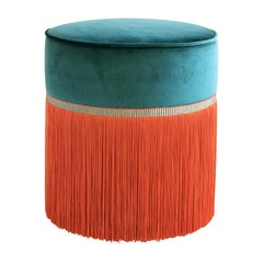 Deco Couture Geometric Green and Orange Ottoman