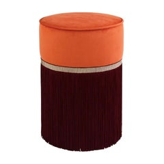 Decò Couture Geometric Orange and Bordeaux Ottoman