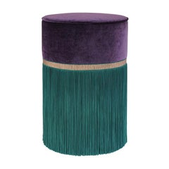 Decò Couture Geometric Purple and Green Ottoman