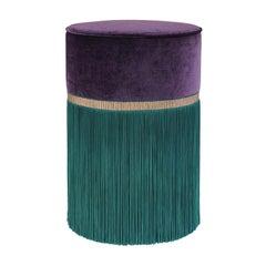 Decò Couture Geometric Purple and Green Ottoman