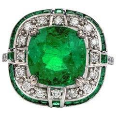Deco Cushion Emerald Double Halo 18 Karat Gold Cocktail Ring