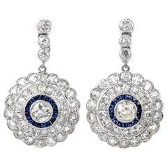 Deco Design Diamond Sapphire Dangling Platinum Earrings