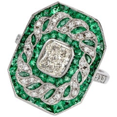 Deco Design GIA Radiant Diamond and Emerald Platinum Cocktail Ring