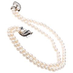 Deco Diamond 5.20 Carat Sapphire Platinum 14 Karat Gold Pearl Necklace