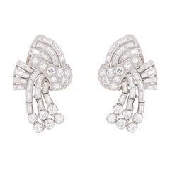 Deco Diamond Cluster Earrings, circa 1930s
