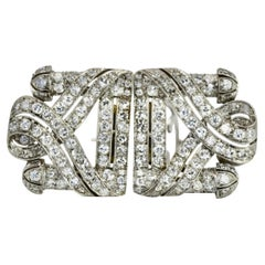 Deco Diamond Double Clip Brooches Platinum