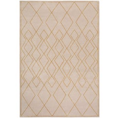 Deco Diamond Light Hand-Knotted 6x4 Floor Rug in Wool and Silk by Tim Gosling