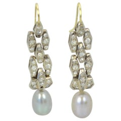 Deco Diamond Pearl Drop Earrings Platinum and 14 Karat Gold