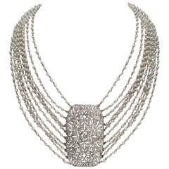 Deco Diamond Pendant on 10-Strand Pearl Chain Choker