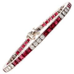 Deco Diamond Ruby Platinum Line Tennis Bracelet