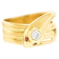 Deco Diamond Set Snake Ring
