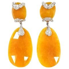 Deco Drop Earrings in Jade with Diamonds and 18 Karat Gold