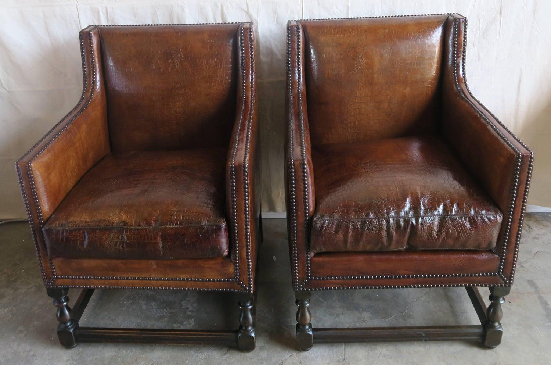 Pleasing Deco Embossed Faux Crocodile Leather Chairs Pair Creativecarmelina Interior Chair Design Creativecarmelinacom