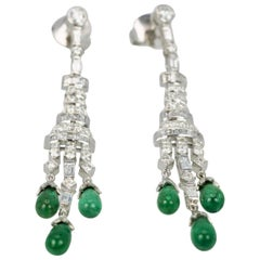 Deco Emerald Diamond Drop Earrings 18 Karat