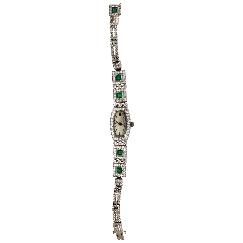 Deco Emerald Diamond Platinum Ladies Strap Watch