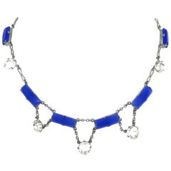 Deco Era Chalcedony Glass and Crystal Choker Length Necklace