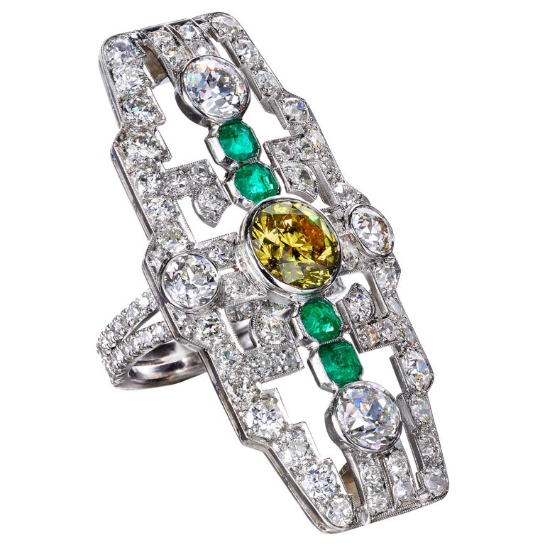 Deco Fancy Deep Greenish Yellow Diamond and Emerald Cocktail Ring For Sale