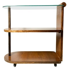 Vintage Petite Deco Glass Tea/Bar cart in the manner of Gilbert Rohde