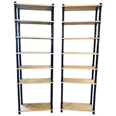 Deco Hollywood Regency Ebonized & Parchment Covered Open Shelves/Étagères, Pair