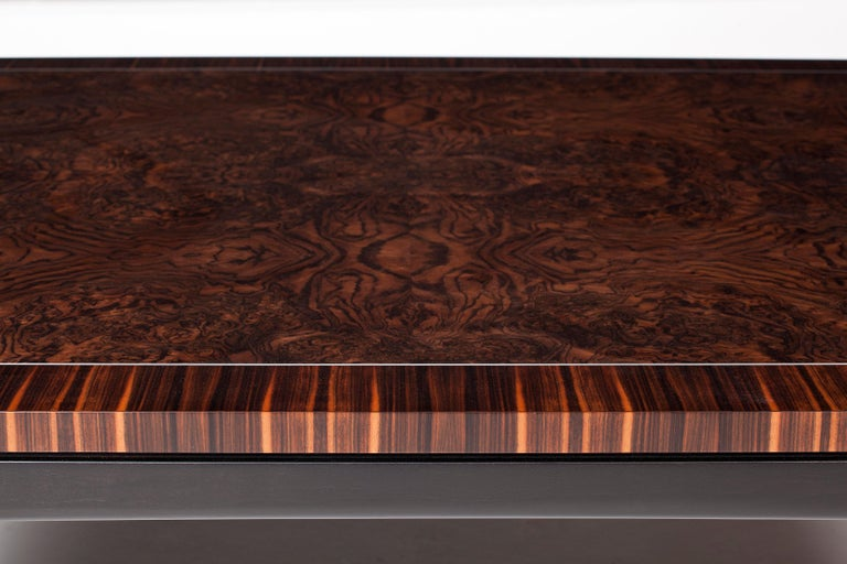 Art Deco Deco Inspired Coffee Table in Macassar Ebony, Burr Walnut and Aluminium Details For Sale