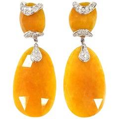 Deco-Inspired Drop Earrings in Jade and 18 Karat Gold