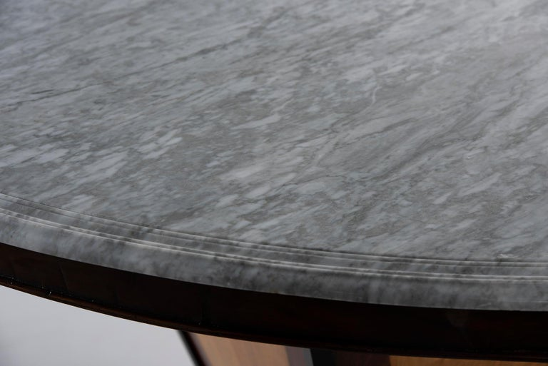 Deco-Inspired Italian Marble Dining Table with Custom Made Base For Sale 5
