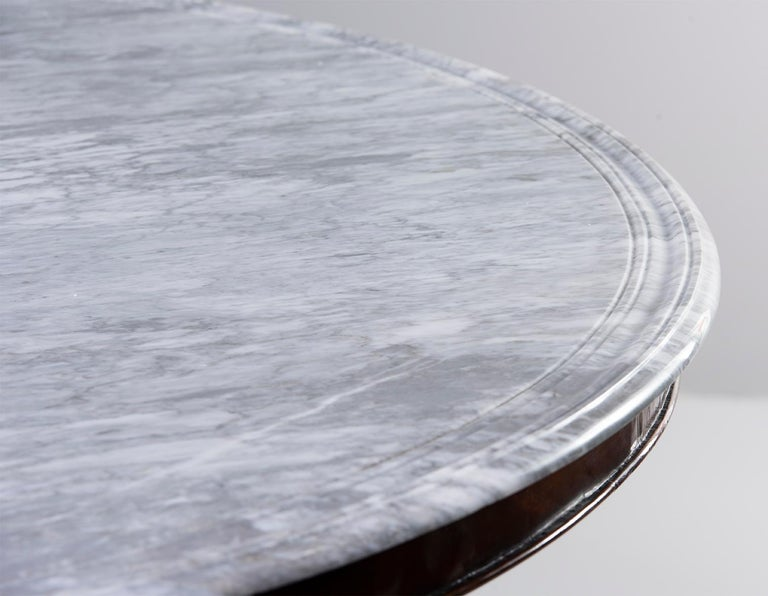 Deco-Inspired Italian Marble Dining Table with Custom Made Base For Sale 7