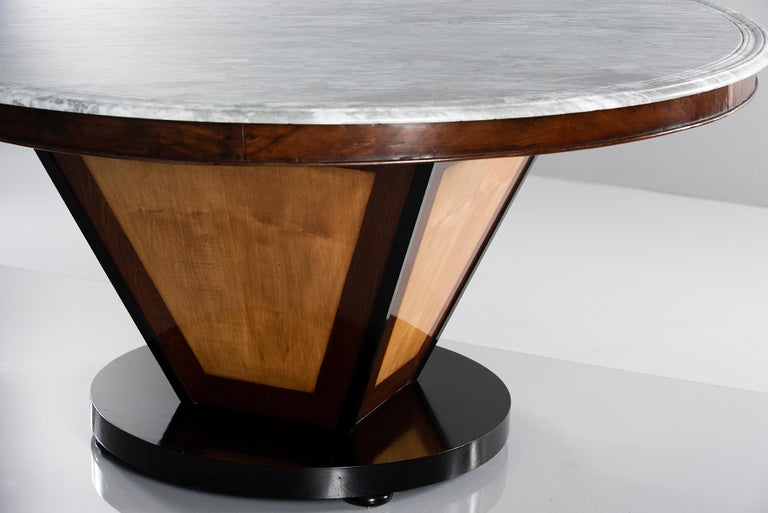 European Deco-Inspired Italian Marble Dining Table with Custom Made Base For Sale