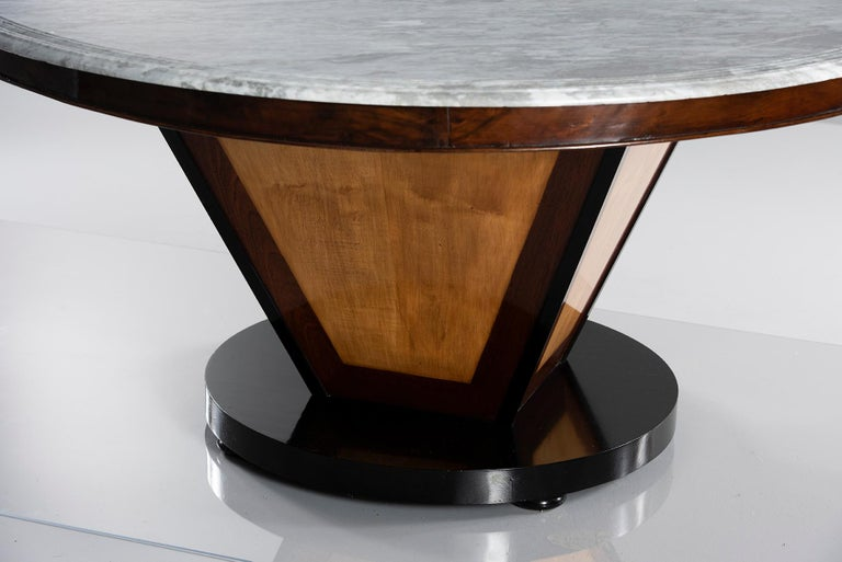 Deco-Inspired Italian Marble Dining Table with Custom Made Base In Excellent Condition For Sale In Troy, MI