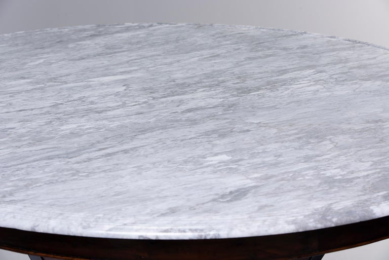Deco-Inspired Italian Marble Dining Table with Custom Made Base For Sale 1