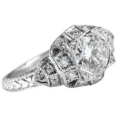 """Deco-Inspired """"Layer Cake"""" Engagement Ring with 0.77 Carat Diamond in Platinum"""