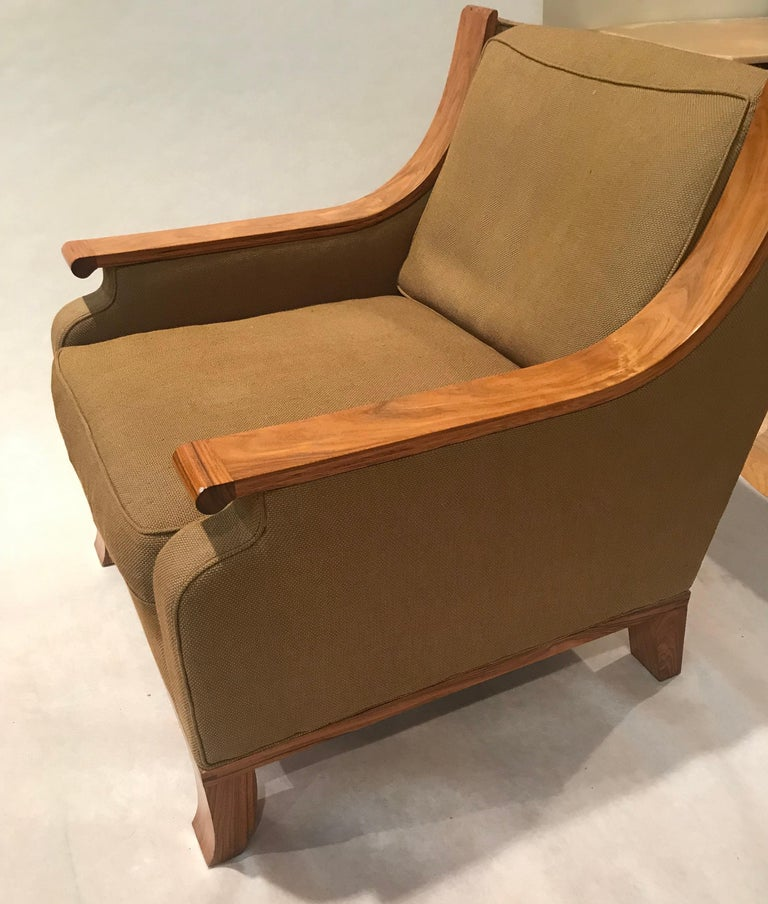 Art Deco Deco Inspired Lounge Chair in Bolivian Rosewood and Down Upholstered Cushions For Sale