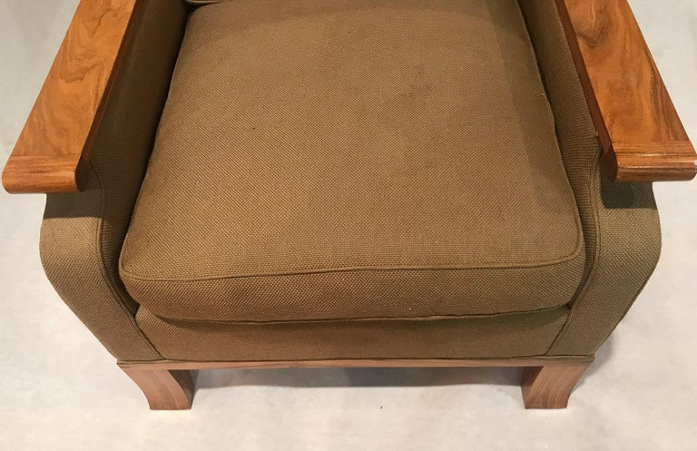 American Deco Inspired Lounge Chair in Bolivian Rosewood and Down Upholstered Cushions For Sale
