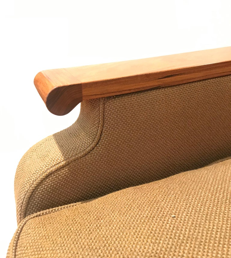 Woodwork Deco Inspired Lounge Chair in Bolivian Rosewood and Down Upholstered Cushions For Sale