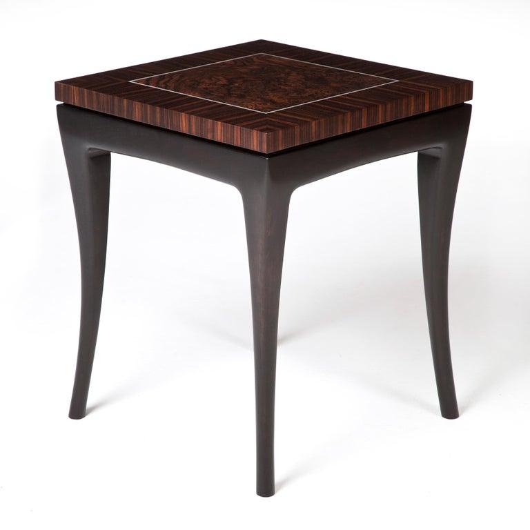 Irish Deco-Inspired, Macassar Ebony Side Table For Sale