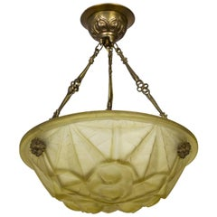 Deco Leaf Bowl Pendant in Pressed Yellow Degue Glass
